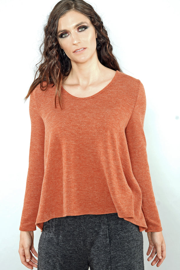 Khangura Burnt Orange Sweater in Luxurious Jersey Knit. Good Quality, High End Clothing. Made in the USA.  Comfy Women's Top by Shopkhangura. Fall 2020 Fashion.