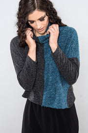 Khangura Turtleneck Crop Teal and Charcoal Sweater Top by Shop Khangura. Comfy Blouse for Fall-Winter 2020. Elegant and Unique Top Made in the USA.