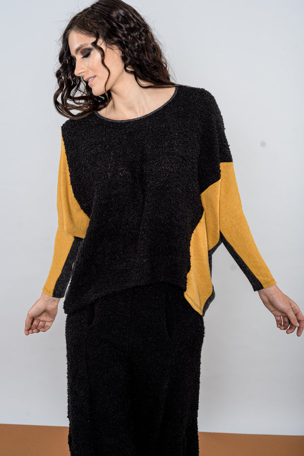 Khangura Black Bouclé and Mustard Gold Jersey Knit Top by Shop Khangura. Funky Yet Classic Boutique Style Womens Top. Artful and Comfy Blouse Made In USA. Beautiful Shades of Fall-Winter 2020 This Top is Simply Stunning.