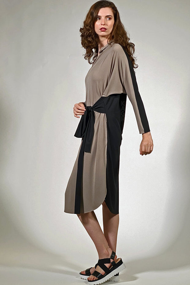 Fashion Tie Tunic Dress - porcini black