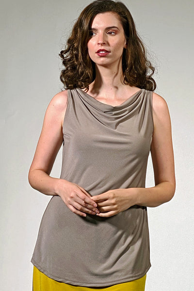 Khangura unique clothing offers cowl neck tank top. Luxurious classic tank top. Basic wardrobe for 60 year old woman. Comfy clothing USA made. Cute and elegant top.