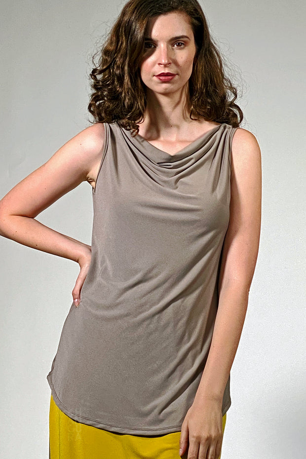 Cowl Neck Tank Top - porcini