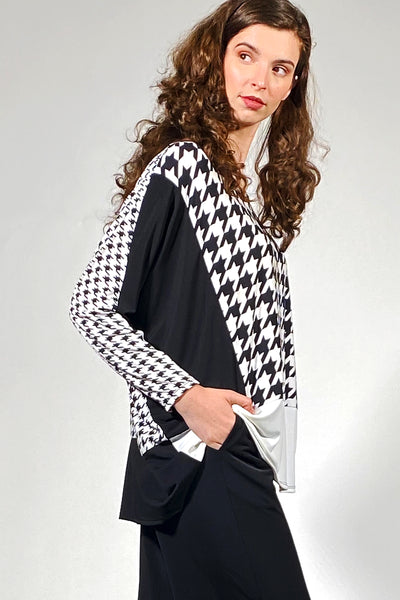 Khangura luxurious black white check pattern top by Khangura. Funky yet classic boutique style womens clothing top. Artful yet comfy clothing made in USA.