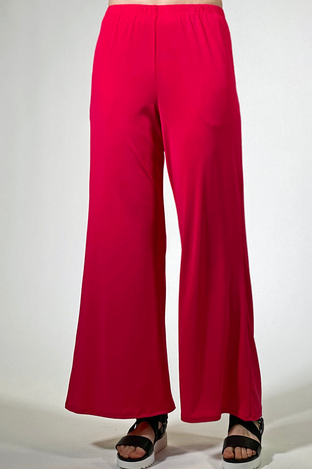 Khangura basic pants for women over 40 years and older.  evryday wear basics by Atrimino. luxurious fashion pants, modern style pants, timeless elegance. red color long pants for ladies 50 years old. pull on style pants. super comfy knit pants.