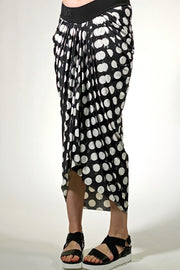 Funky Pleat Art Skirt - polka black cream