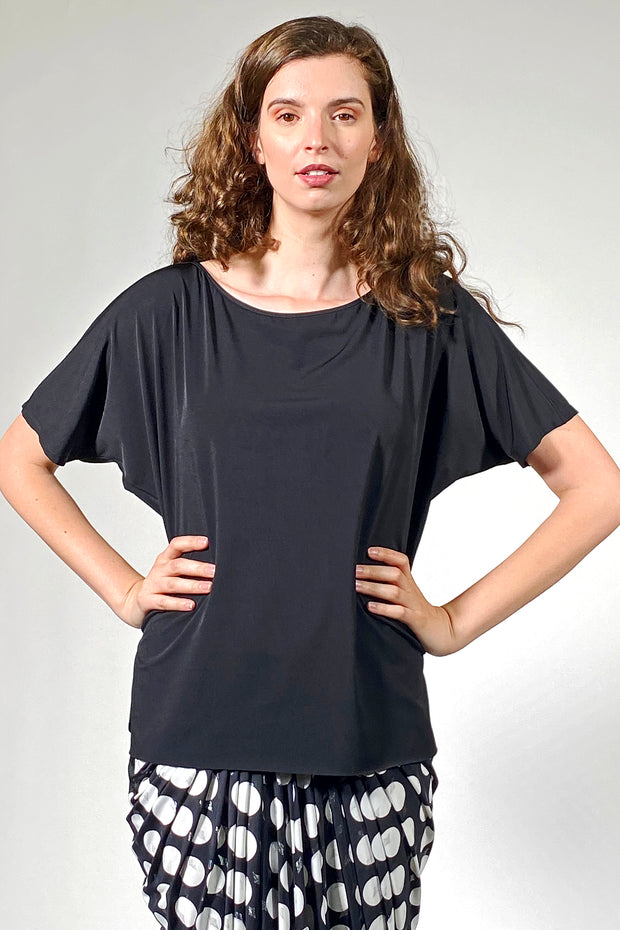 Luxurious Boat Neck Top - black