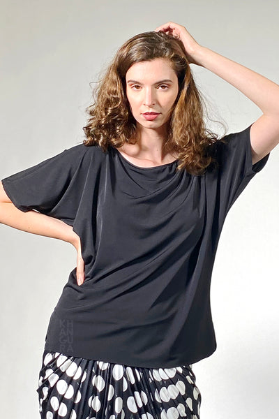 Khangura summer black top. Luxurious and elegant clothing for women. Best short sleeve basic fashion top in soft jersey knit. Stylish Clothes for 70 year old woman. Comfy clothing made in USA.