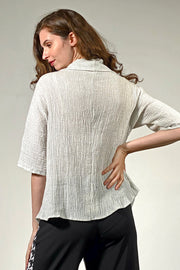 Marseille Ruched Cowl Neck Top - sea salt
