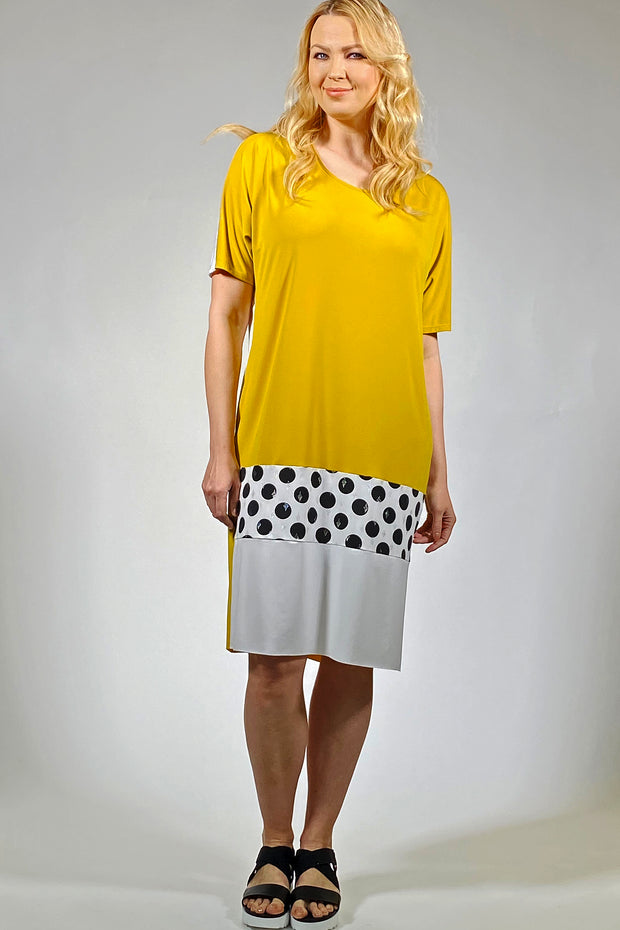 Art Deco Dress - mustard cream polka