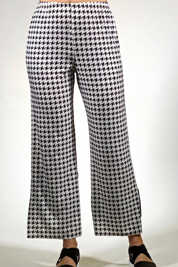 Trendy Fashion Pants - houndstooth black cream