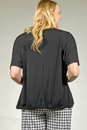 Ruched Hem Top - black