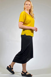 Luxurious Boat Neck Top - mustard