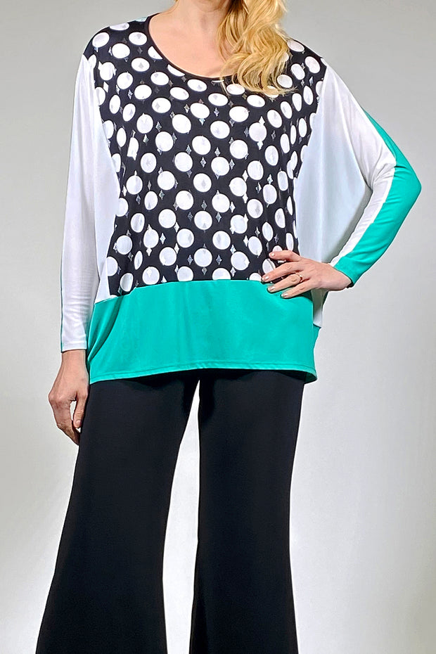 Boxy Comfy Tunic Top - polka jade cream