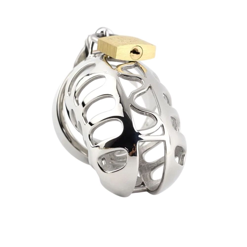 Stainless Steel Rattlesnake Metal Chastity Device 2.36 inches long