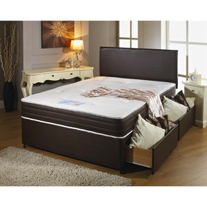 Memory Leather Single Divan Bed - Sure Sleep Beds