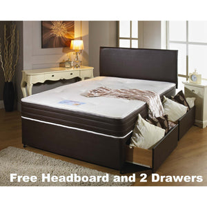 Memory Leather Double Divan Bed