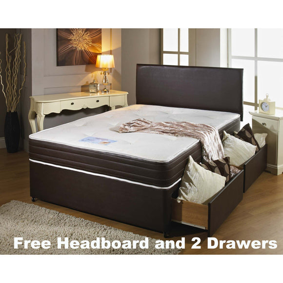 Memory Leather Double Divan Bed - Sure Sleep Beds Doncaster