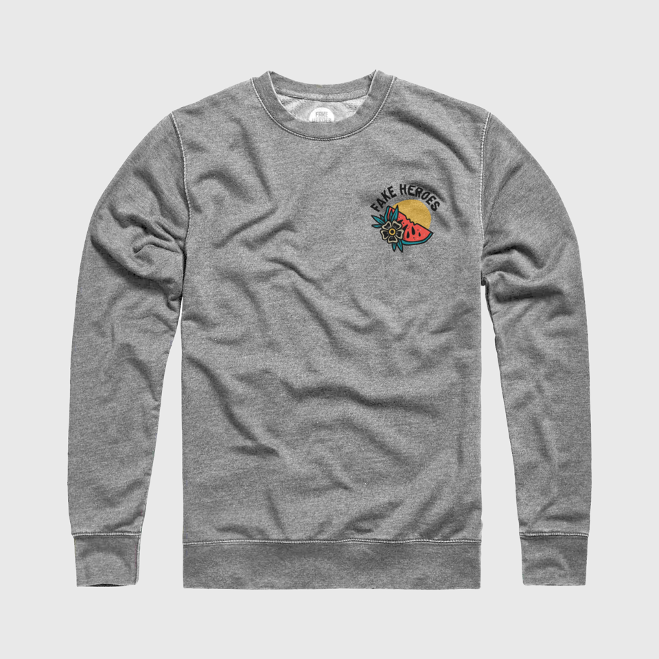 Tropical Vibes Grey Crew