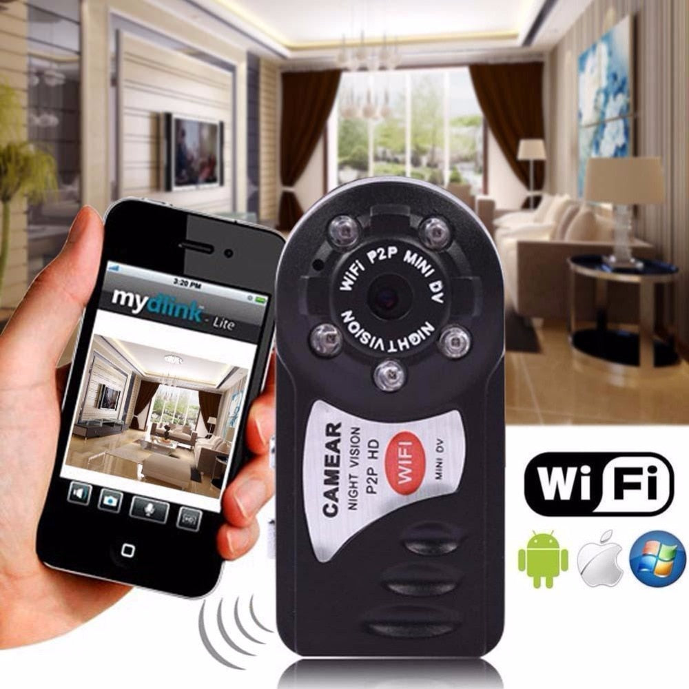 WiFi Mini Camera IR Night Vision P2P Wireless Micro Cam Remote Control for  iPhone Android