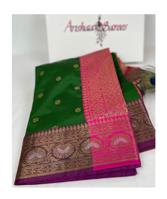 Green Banarasi Silk Mix Saree