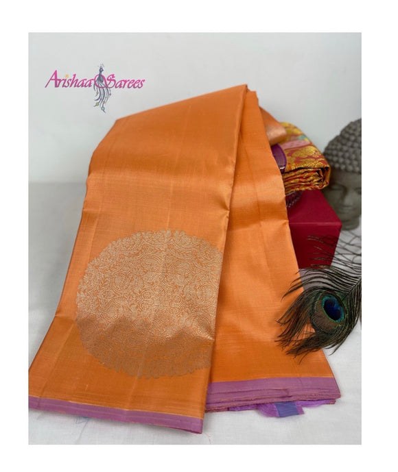 Pastel Peach Kanchipuram Silk Saree