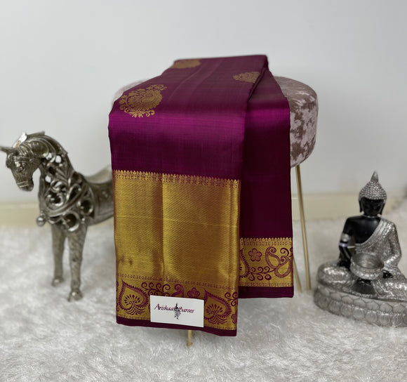 Burgundy Kanchipuram Silk Saree