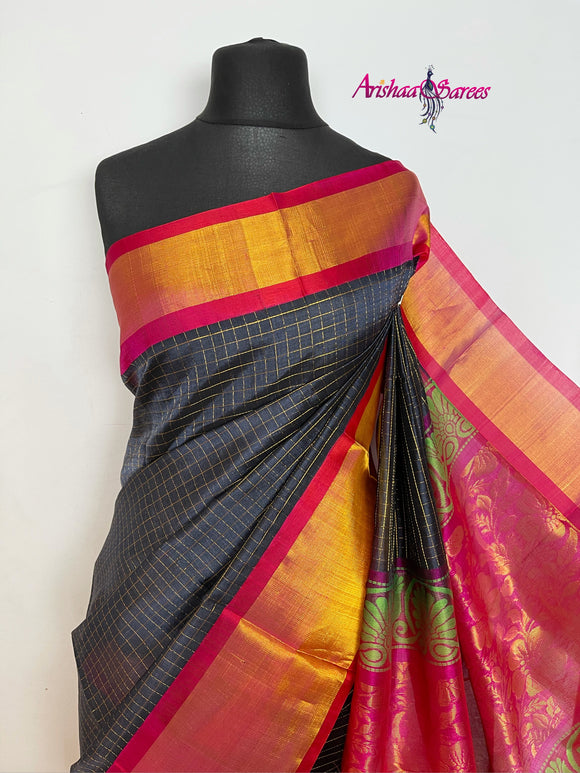 Dark Grey Kanchi Silk Cotton Saree