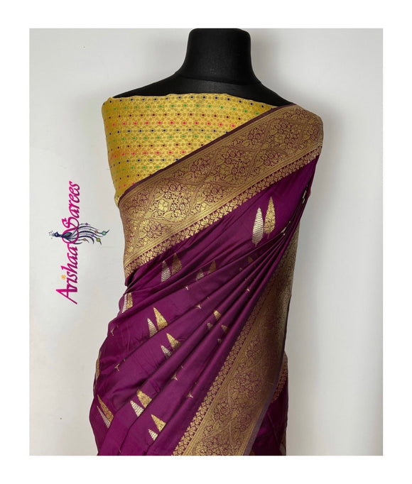 Burgundy Banarasi Silk Saree