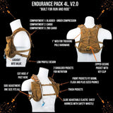 Endurance Pack 4L - V2.0 (2L Bladder 4L Cargo): Ideal For Running And Biking - $134.95 - Coyote Brown - V2.0 - Hydration