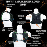 Gear Vest 2L (1L Bladder 2L Total Cargo): Ideal For Running Biking Triathlon - Black-Green - Packs