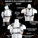 Gear Vest 2L (1L Bladder 2L Total Cargo): Ideal For Running Biking Triathlon - White - Packs