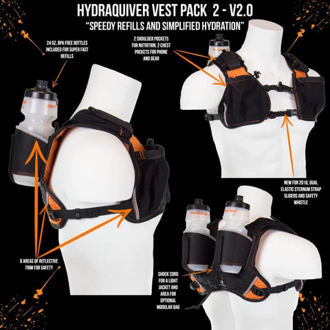 Hydraquiver Vest Pack 2 - 2.0: Ideal For Marathon Ironman And Ultrarunning. - Vp2 - 2.0 - Black With Orange Mesh - Hydration