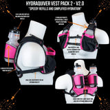 Hydraquiver Vest Pack 2 - 2.0: Ideal For Marathon Ironman And Ultrarunning. - Vp2 - 2.0 - Pink With Gray Mesh - Hydration