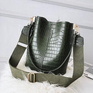Large Capacity Alligator Bucket Bags Women Crocodile Pattern Handbag Casual Crocodile Shoulder Messenger Bags Ladies PU Purse