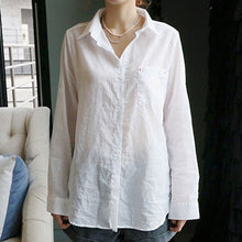 Women Summer Linen White Solid Blouse Shirt Korean Style Casual Tops Female Fashion Camisa V Neck Blouses