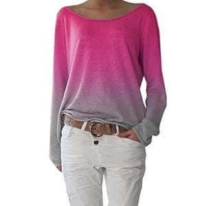 Ladies Long Sleeve Ombre T-Shirt