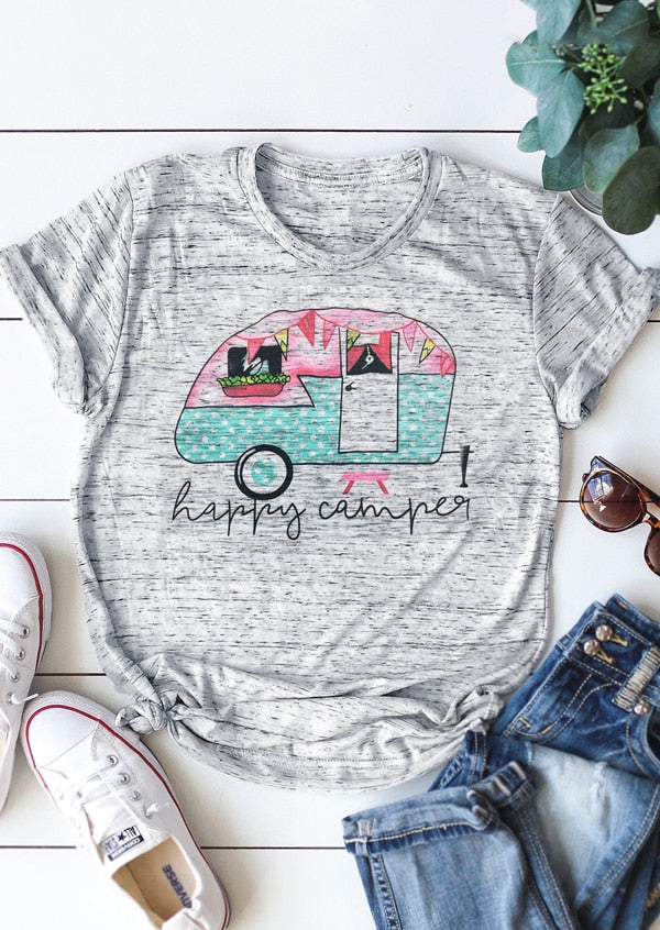 Happy Camper Women's Graphic Tee Light Grey