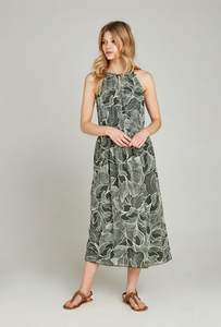 Apricot Khaki Abstract Leaf Midi Dress