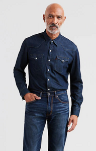 Levis Mens Western Shirt Dark Wash