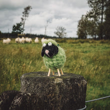 Load image into Gallery viewer, Green Wool Wooden Legged Sheep - Spinning a Yarn