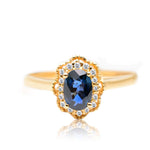 Vintage Style 14K Gold Natural Sapphire and Diamonds Promise Ring