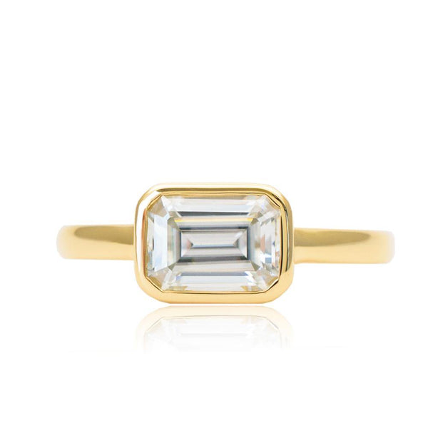 Untraditional Design Emerald Cut Moissanite Bezel Solitaire Ring - Modern Gem Jewelry