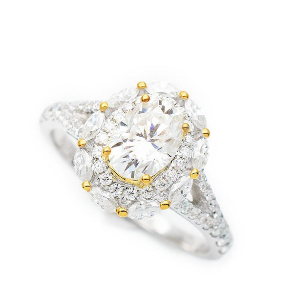 Shimmering Two Tone 18K Yellow & White Gold Oval Moissanite Split Shank Ring - Modern Gem Jewelry
