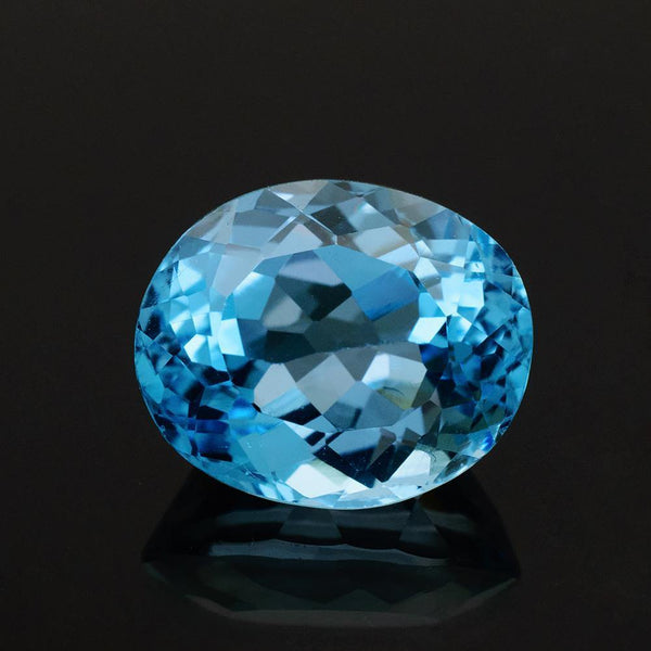 11.75 Carat Natural Brazilian Blue Topaz Oval Cut Gemstone - Modern Gem Jewelry