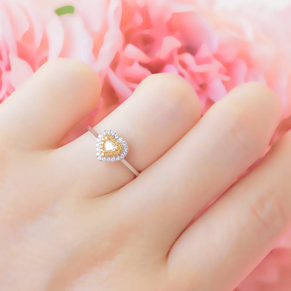 READY TO SHIP | Yellow Natural Diamond Double Halo 18K White Gold Ring - Modern Gem Jewelry