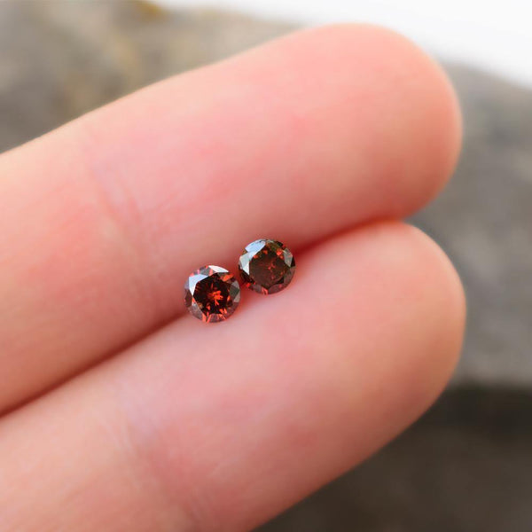 Perfectly Matched 0.3 Carats Natural Orange Red Diamonds For Earrings - Modern Gem Jewelry