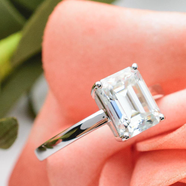 3 Carats Classic Colorless Moissanite Emerald Cut Solitaire 18K Gold Ring - Modern Gem Jewelry