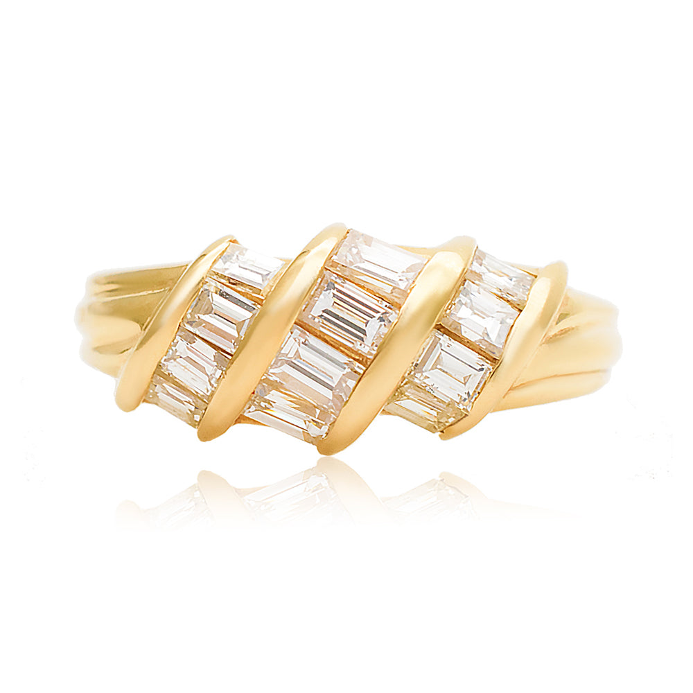 18k Yellow Gold Baguette Cut Natural Diamonds Ring - Modern Gem Jewelry