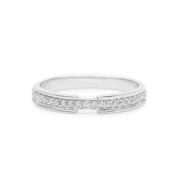 Mico-Pave Natural Diamonds 18k White Gold Half Infinity Wedding Band - Modern Gem Jewelry