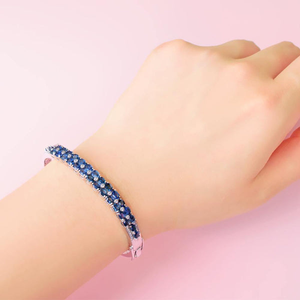 Natural Sapphire & Natural Diamonds 14K White Gold Bracelet